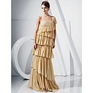 Sheath/ Column One Shoulder Floor-length Chiffon Evening Dress