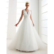 Lanting Princess Petite / Plus Sizes Wedding Dress - Ivory Floor-length V-neck Tulle