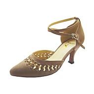 Non Customizable Women's Dance Shoes Modern/Ballroom Velvet Stiletto Heel Brown