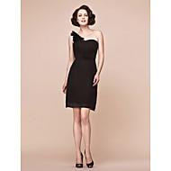 Lanting Sheath/Column Plus Sizes / Petite Mother of the Bride Dress - Black Short/Mini Sleeveless Chiffon