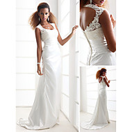 Lanting Sheath/Column Petite / Plus Sizes Wedding Dress - Ivory Sweep/Brush Train Scoop Charmeuse