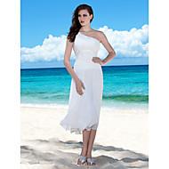 Lanting Bride Sheath/Column Petite / Plus Sizes Wedding Dress-Tea-length One Shoulder Chiffon