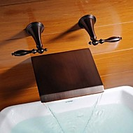 Antique Wall Mounted Waterfall with  Ceramic Valve Two Handles Three Holes for  Oil-rubbed Bronze , Bathtub Faucet
