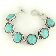 turkos och silverlegering cirkeln charm växla armband