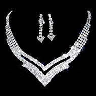 "Gorgeous Rhinestone Two Piece Cutout ""V"" Design Ladies' Jewelry Set (45 cm)"