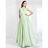 Formal Evening/Prom/Military Ball Dress - Sage Plus Sizes Sheath/Column Jewel Floor-length Chiffon/Stretch Satin