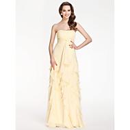 Bridesmaid Dress Floor Length Chiffon Sheath Column Strapless Dress