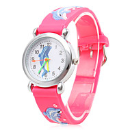 Children's Cartoon Dolphin Pattern Red Silicone Band Quartz Analog Wrist Watch Cool Watches Unique Watches Fashion Watch Strap Watch