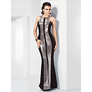 Formal Evening/Military Ball Dress Plus Sizes Trumpet/Mermaid Jewel Floor-length Stretch Satin/Sequined