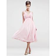 Lanting Tea-length Chiffon Bridesmaid Dress - Blushing Pink Plus Sizes / Petite A-line V-neck