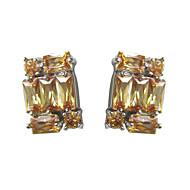 Fabulous Yellow Platinum Plated With  Irregular Shape Cubic Zirconia Earrings