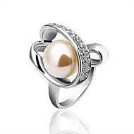 Gorgeous 18K Gold Big Pearl Crystal Fashion Ring
