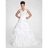 Lanting Ball Gown Plus Sizes Wedding Dress - White Chapel Train V-neck Taffeta