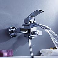 faucet banheira contemporânea cachoeira - montagem em parede
