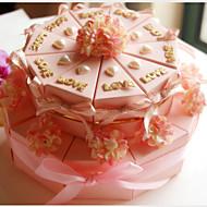 아름다운 꽃 분홍색 카드 종이 결혼식 호의 상자 (20 세트)