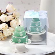 Lovely Green Candle With Snow Prints