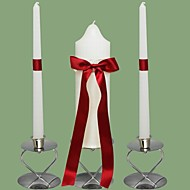 Red Bow Wedding Unity Candles Set-White (Candle Holders Not Included)