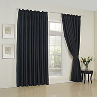 Two Panels Neoclassical Solid Black Bedroom Rayon Blackout Curtains Drapes