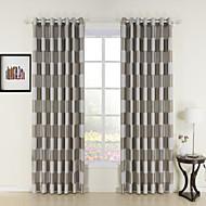 Mediterranean Two Panels Plaid/Check Black  Khaki Living Room Polyester Curtains Drapes