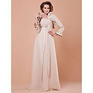 Sheath / Column Plus Size / Petite Mother of the Bride Dress - Wrap Included Floor-length 3/4 Length Sleeve Chiffon / Satin withCrystal
