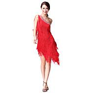 Danskläder för latinamerikansk dans - klänning för uppträdande i bomull/polyester med kristaller och tofsar