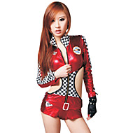 Skinny Checkered Red Leather Stage Costumes(2 Pieces)