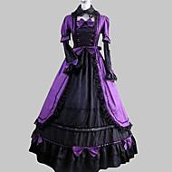 Long Sleeve Floor-length Purple Satin Cotton Aristocrat Lolita Dress