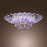 5 - Light Crystal Semi Flush Mount with Remote Control (G4 Bulb Base)