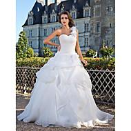 Lanting Bride Ball Gown Petite / Plus Sizes Wedding Dress-Floor-length One Shoulder Organza