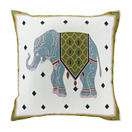Embroidered Elephant Cotton Decorative Pillow Cover