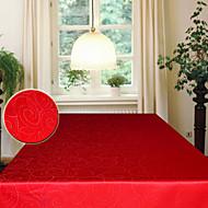 jacquard de poliéster retangular abstrato deixa toalha de mesa vermelha