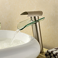 Contemporary Vessel Waterfall with  Ceramic Valve Single Handle One Hole for  Nickel Brushed , Bathroom Sink Faucet