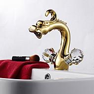 Deux Centerset poignée en or rose Finition tête de dragon de style lavabo robinet