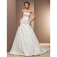Lanting sposa una linea petite / più dimensioni abito da sposa cappella treno senza spalline in taffetà