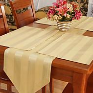 Ensemble De 4 Pays Khaki Napperons Jacquard Stripe Polyester