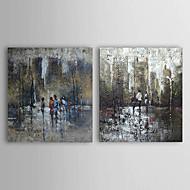 Pintados à mão Abstrato / Paisagens Abstratas 2 Painéis Tela Pintura a Óleo For Decoração para casa