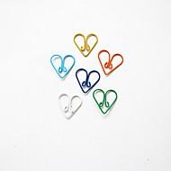 teste padrão do coração de plástico embrulhado clipes de papel (10pcs cores aleatórias)