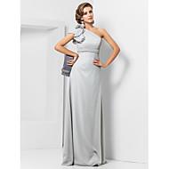 저녁 정장파티/밀리터리 볼 드레스 - 실버 시스/컬럼 바닥 길이 원 숄더 쉬폰 플러스 사이즈