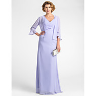 Sheath/Column Plus Size / Petite Mother of the Bride Dress - Floor-length 3/4 Length Sleeve Chiffon