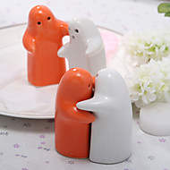 Hvit & Orange Ceramic Salt & Pepper Shakers