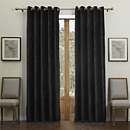 Modern Two Panels Solid Black Dining Room Rayon Curtains Drapes