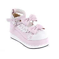 Handmade White PU Leather 7cm Wedge Sweet Lolita Shoes