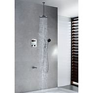 Contemporary Thermostatic LED Digital Display Brass Shower Faucet with 8 inch Round Showerhead + Handshower