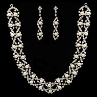 White Pearl Two Piece Shining Ladies' Jewelry Set (45 cm)