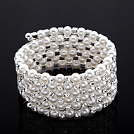 exquisiten Damen Strass Strang / Tennis Armband in White Pearl
