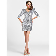 Cocktail Party Dress - Silver Plus Sizes Sheath/Column V-neck Short/Mini Sequined