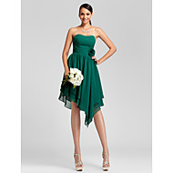Knee-length / Asymmetrical Chiffon Bridesmaid Dress - Plus Size / Petite A-line / Princess Strapless