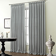 Two Panels  Classic Solid Polyester Cotton Blend Curtain