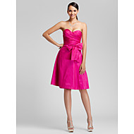Lanting Knee-length Taffeta Bridesmaid Dress - Fuchsia Plus Sizes / Petite A-line / Princess Sweetheart / Strapless