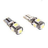 T10 1W 5x5050SMD White Light LED Bulb for Car Instrument/Side Marker Lamp CANBUS (12V, 1-Pair)